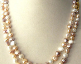 NICE NATURAL MULTICOLOR BAROQUE  PEARL NECKLACE 96cm;