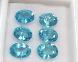6 Pcs Lot Apatite Parcel 7x5mm Faceted Oval  Paraiba color 5ct (SKU 8)