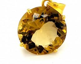 Congo Citrine 12.97ct Solid 18K Yellow Gold Pendant