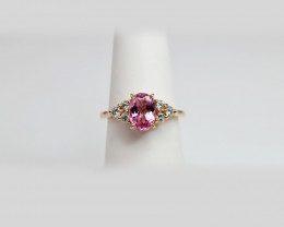 Pink Spinel & Diamond Ring Handcrafted in 14K Rose Gold