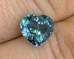 4.37 ct Tanzanite - Merelani Hills, TZ - Heart Shaped- Loupe Clean Clarity