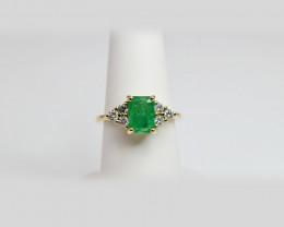 Emerald, Diamond Ring - 14k Yellow Gold -  Engagement Ring - Made in New Yo