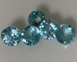 Five  Sparkling Blue Zircon gems - No reserve ~