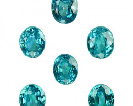 ~SPARKLING~ 6.54 Cts Natural Blue Zircon 5.5x4.5mm Oval 6Pcs Cambodia