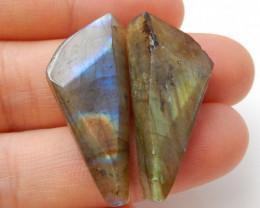 32.5cts Faceted Labradorite Cabochon Pairs , Labradorite Stones Loose Gemst