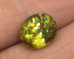 2.94 Carat Sphene Rainbow Flash Exceptional Quality Rare!
