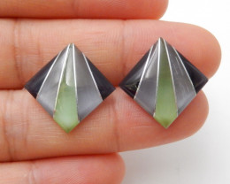 14cts Fashion cymophane cabochon pair, healing stone F596