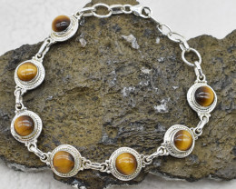 TIGER EYE BRACELET NATURAL GEM 925 STERLING SILVER JB239