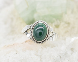 MALACHITE RING 925 STERLING SILVER NATURAL GEMSTONE JR404