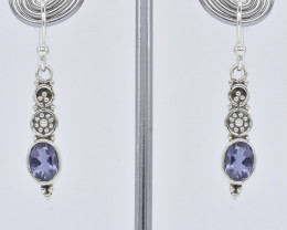 IOLITE EARRINGS 925 STERLING SILVER NATURAL GEMSTONE JE376