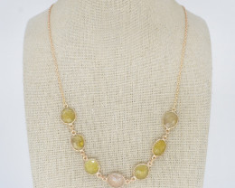 YELLOW SAPPHIRE  NECKLACE NATURAL GEM 925 STERLING SILVER JN170