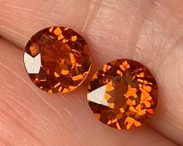 Extreme Mandarin Garnet Pair 5.80mm Jewellery grade gems C30P