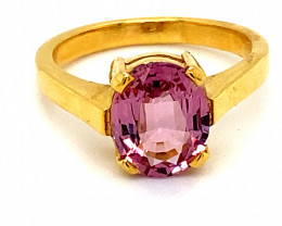 Tajikistan Pink Spinel 2.84ct Solid 18K Yellow Gold Solitaire Ring      Siz
