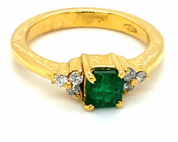 Emerald 1.01ct Natural Diamonds Solid 18K Yellow Gold Multistone Ring     S