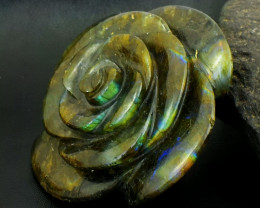 Genuine 1493.00 Cts Green Flash Labradorite Carved Rose