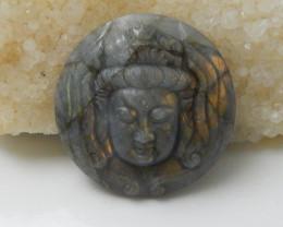 Carving Labradorite Buddha Figurine Gemstone Carving Pendant Bead F610