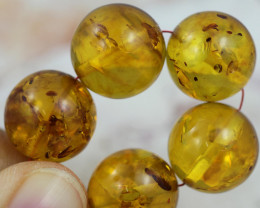 36  Cts Gold Yellow Amber Beads 13 mm    AM 1629