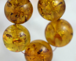 38  Cts Gold Yellow Amber Beads 13 mm    AM 1631