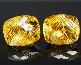 19.78 CRT BEAUTIFUL YELLOW CITRINE CARVING PAIR