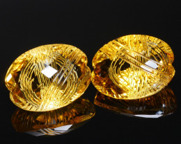 18.17 CRT BEAUTIFUL YELLOW CITRINE CARVING PAIR