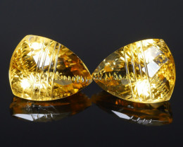 10.35 CRT BEAUTIFUL YELLOW CITRINE CARVING PAIR -