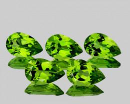 8x5 mm Pear 5 pcs 4.74cts Green Peridot [VVS]
