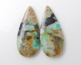 40.5cts Beautiful Chrysocolla Teardrop Earrings F620