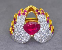 Unique Design 14.58 g Ring 3.03 ct Tajikstan Ruby 18K Gold 3.50 ct Diamond