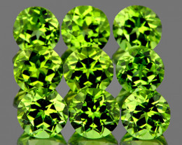4.50 mm Round 9 pcs 3.86cts Green Peridot [VVS]
