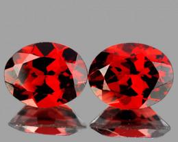 10x8 mm Oval 2 pcs 6.12cts Red Garnet [VVS]