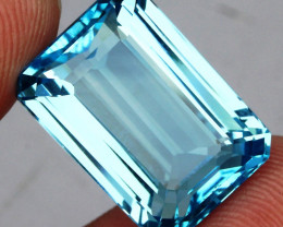 28.59 ct. 100% Natural Swiss Blue Topaz Top Quality Gemstone Brazil