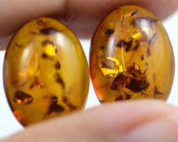 9.5Cts Pair  Oval Honey  Yellow Ambesr   AM 1655