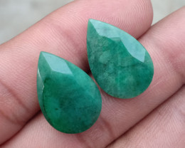 EMERALD PEAR CUT PAIR GENUINE NATURAL GEMSTONE VA1256
