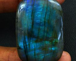 Genuine  80.00 Cts  Blue Flash Labradorite Cabochon V116