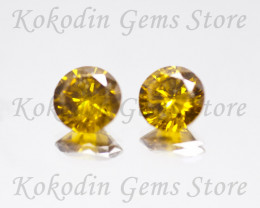 Natural Yellow Diamond Pair VS 1  0.31 ct No Certificate LOT-356