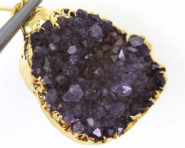 18.40 CTS AMETHYST CRYSTAL GOLD PLATED PENDANT SG-3090