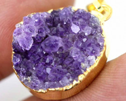 21.90 CTS AMETHYST CRYSTAL GOLD PLATED PENDANT SG-3093