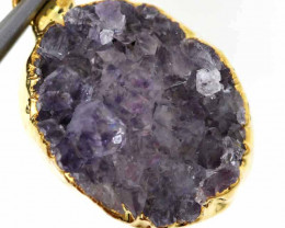 17.95 CTS AMETHYST CRYSTAL GOLD PLATED PENDANT SG-3096