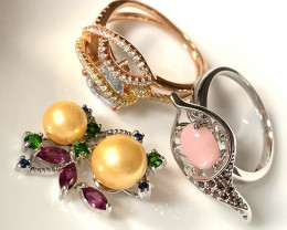2 Gem Rings and a Pendant - Brand new Topaz Pink Opal and Pearl