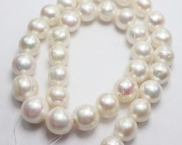 AA QUALITY HIGH LUSTRE CREAMY WHITE GRADUATED 14-12MM FRESHWATER PEARLS!!
