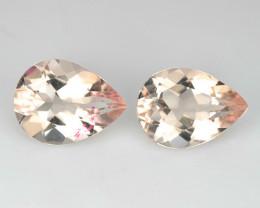 1.78 Cts Natural Peach Pink Morganite 8x6mm Pear Cut 2Pcs Brazil