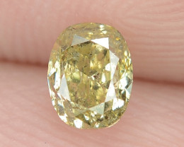 0.38 Cts Untreated Natural Fancy Yellowish Green Color Loose Diamond