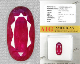 AIG CERTIFIED 9.38 Cts NATURAL RED RUBY LOOSE GEMSTONE