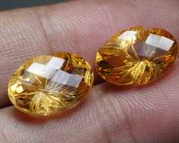 12.0CRT BEAUTY PAIR YELLOW CITRINE CARVING -