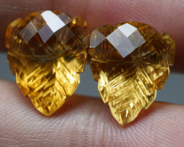 15.0CRT BEAUTY PAIR CARVING YELLOW CITRINE -