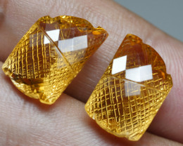 14.5CRT BEAUTY PAIR CARVING YELLOW CITRINE -
