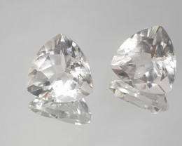 10.98 CT 1 Pair Rock Crystal Quartz 12mm Trillion(SKU 156)