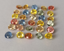 30 Multicolor Sapphires - 5.41 cts - 3.3 - 3.4 mm