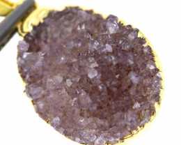 15.60 CTS AMETHYST CRYSTAL GOLD PLATED PENDANT SG-3109