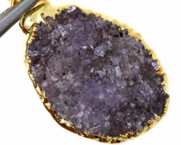 14.60 CTS AMETHYST CRYSTAL GOLD PLATED PENDANT SG-3116
